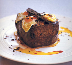Pan-fried Beef Fillet with Fried Quail Egg and Foie Gras Butter with Truffle
